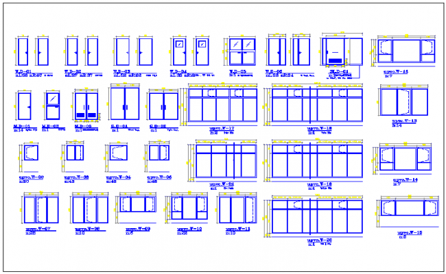 Door & window and other furniture detail dwg file