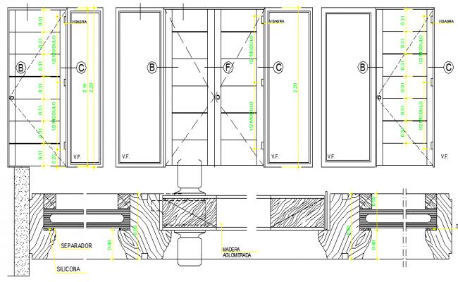 Elevation Plan Door : Door elevation and section details dwg file