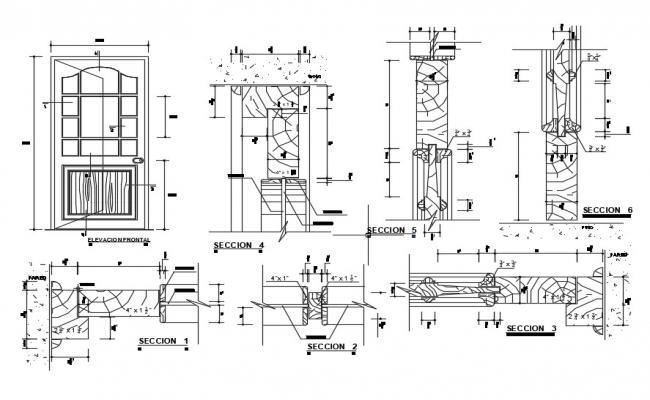 Door Section Detail In DWG File