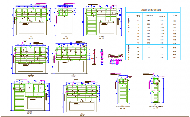 Door and window design and detail view for collage dwg file