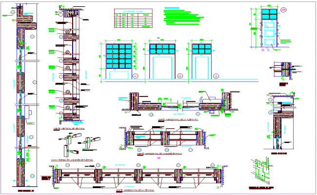 Door and window design view with detail dwg file