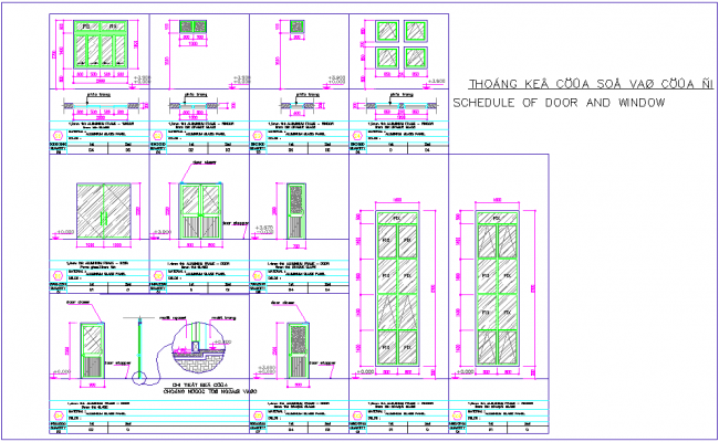 Door and window design with furniture detail for office area dwg file