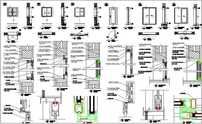 sc 1 st  Cadbull & Door and window detail dwg file