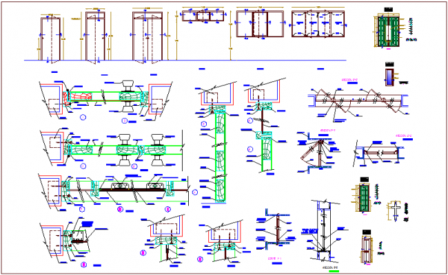 Door and window detail for office building dwg file