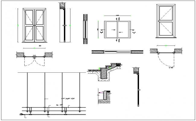 Door and window detail view dwg file