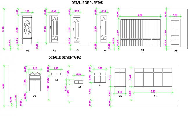 Door and window elevation plan autocad file