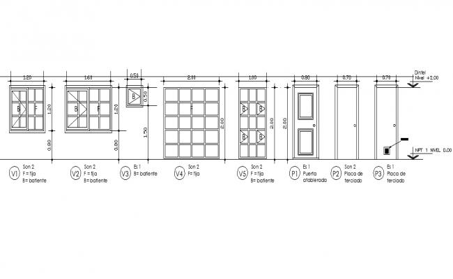 Door and window elevation plan dwg file