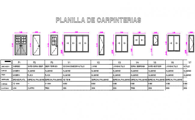 Door and window elevation table detail dwg file