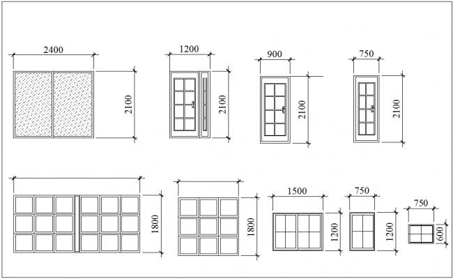 Door and window elevation with different design for 3 bedroom design dwg file