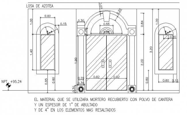 Door and window framing elevation detail dwg file