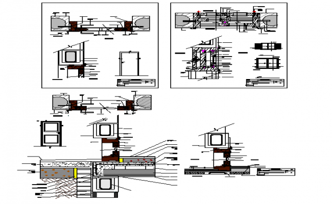 Door and window installation details of office dwg file