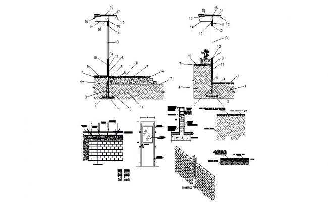 Door and window installation details with brick wall construction dwg file