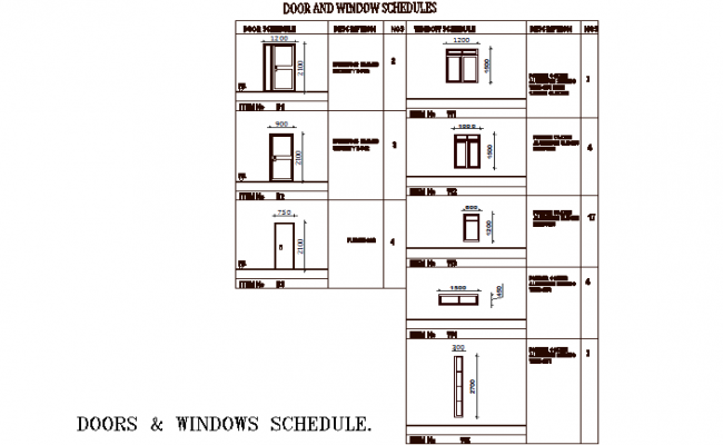 Door and window schedule detail dwg file