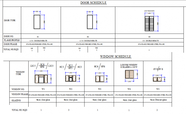 Door and window schedule plan dwg file for Schedule of doors and windows sample