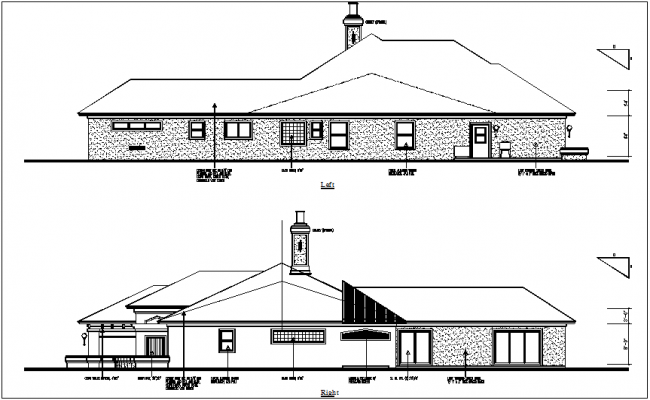 Door and window view in left and right view of house dwg file