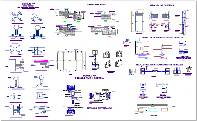 Door and window view with detail view for office dwg file