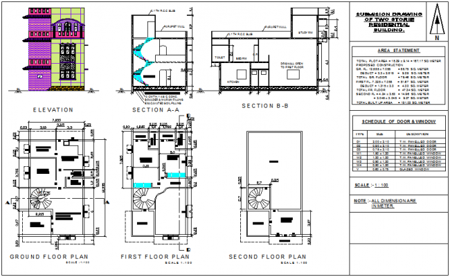 Door and window view with its schedule for house plan dwg file for House plans with window views