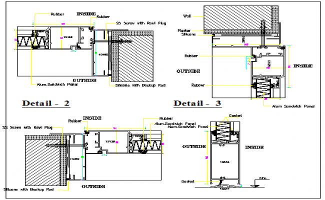 Door and windows installation details of house dwg file