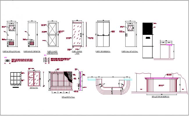 Door design view with detail dwg file