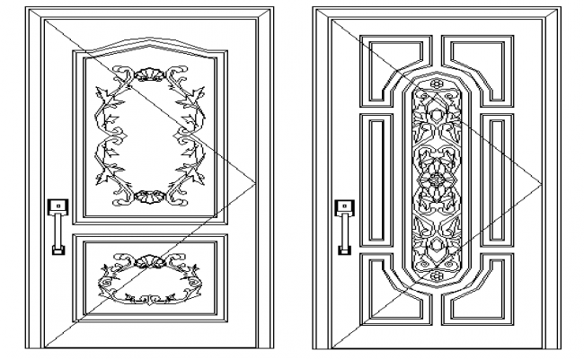 Door designing block details of bungalow dwg file