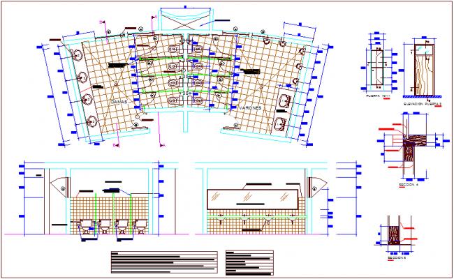 Door detail view of bathroom plan