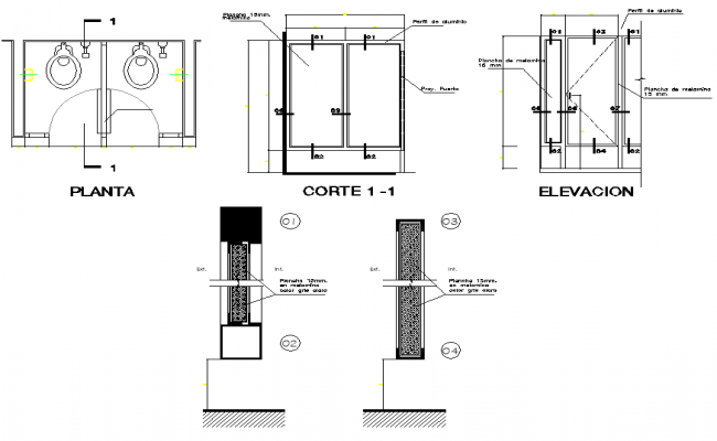 Door elevation and section detail
