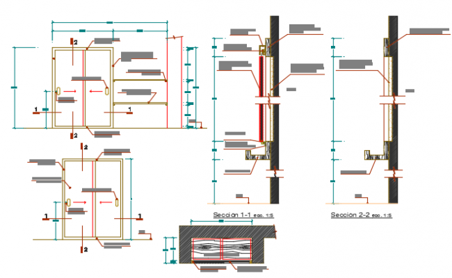 Door elevation and section detail dwg file