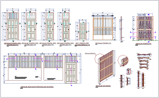 sc 1 st  Cadbull & Door elevation and section view of different types of door dwg file