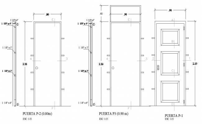 Door elevation detail autocad file