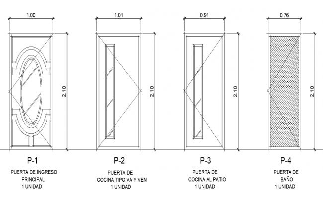 Door elevation plan detail dwg file