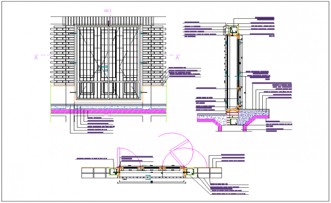 Door elevation section and plan view detail dwg file