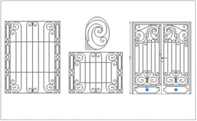 Door elevation view dwg file