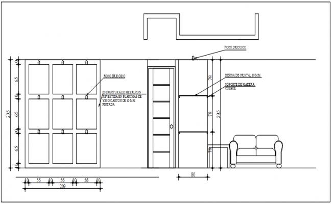 Door farming elevation detail dwg file