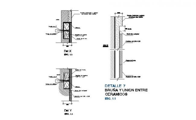 Door frame ceramic structure cad construction details dwg file