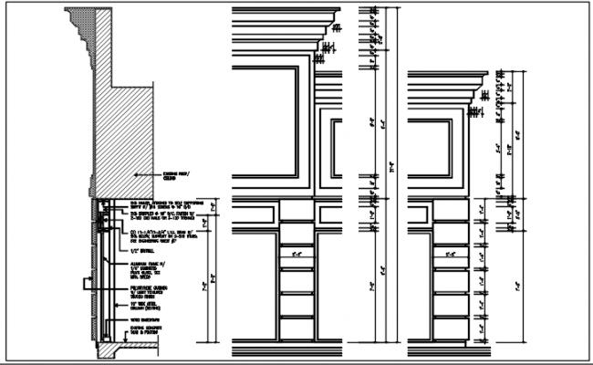 Door frame elevation detail dwg