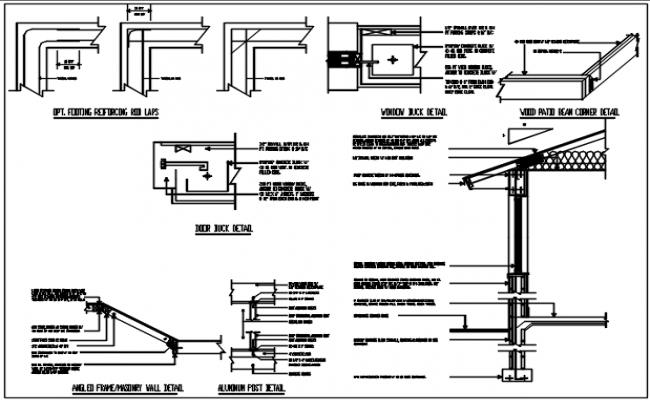 Door framing detail, column detail, wall section detail with naming detail , dimension detail, etc.