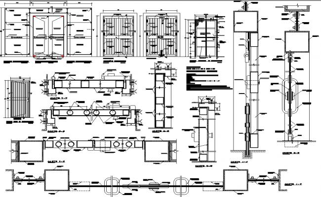 Door framing elevation detail dwg file