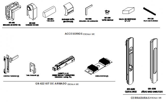 Door installation accessories blocks details dwg file