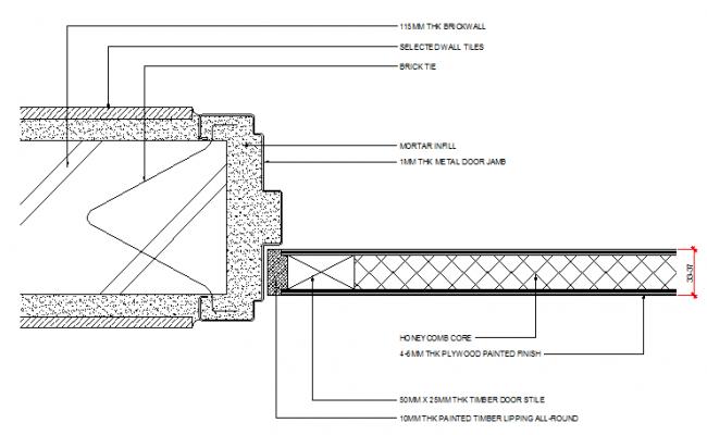 Door installation details of bathroom dwg file