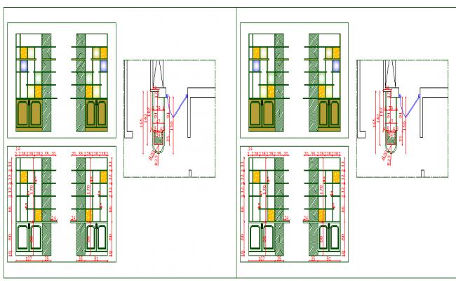 Door installation details of cafeteria dwg file