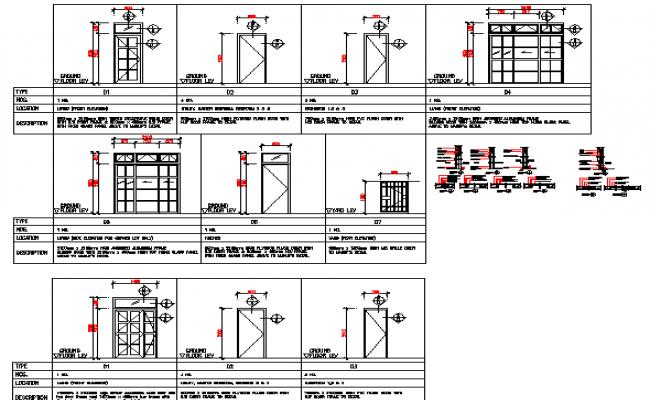 Door installation details of corporate office dwg file