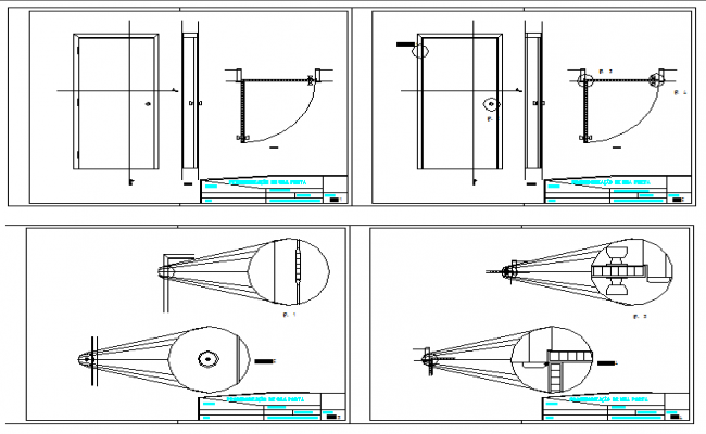 Door installation details of house dwg file