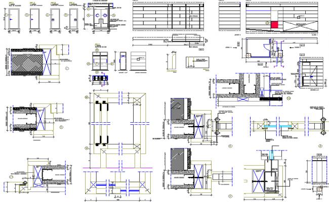 Door installation details of kitchen of restaurant dwg file