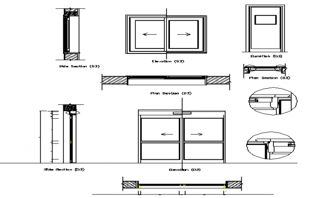 Door installation details with elevation and section dwg file