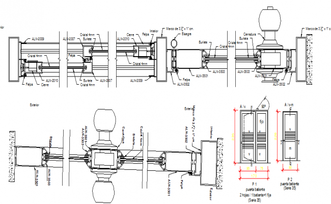 Door installation details with handle architecture project dwg file