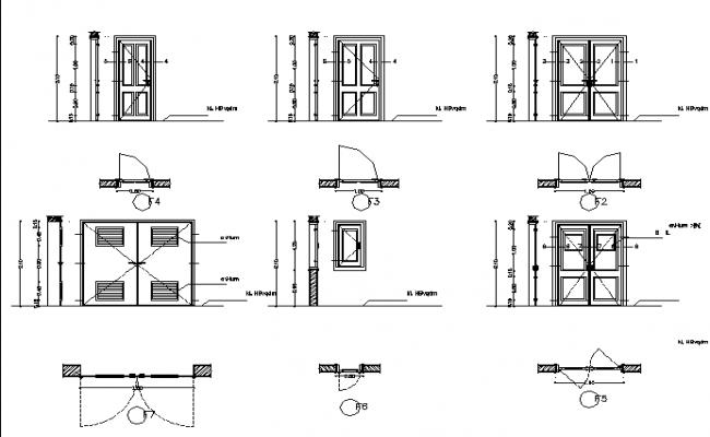 Door model with installation details dwg file