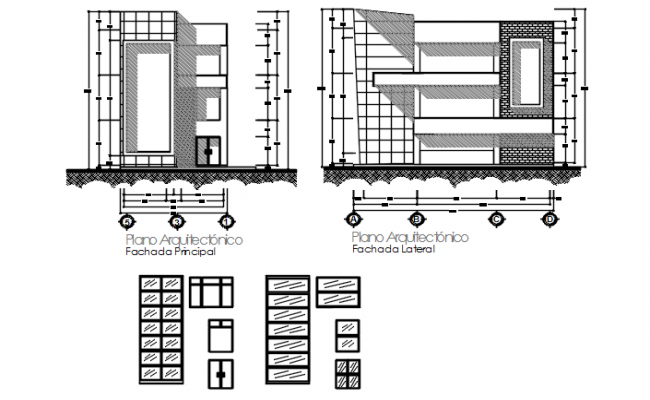 Door plan and elevation center line plan detail dwg file