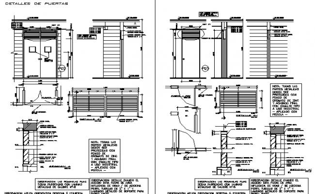 Door plan and elevation framing detail dwg file