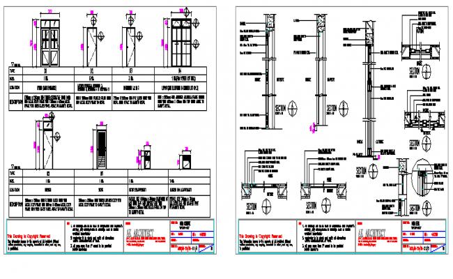 Door schedule details with installation of doors dwg file
