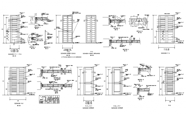 Door structure detail elevation and section 2d view layout dwg file